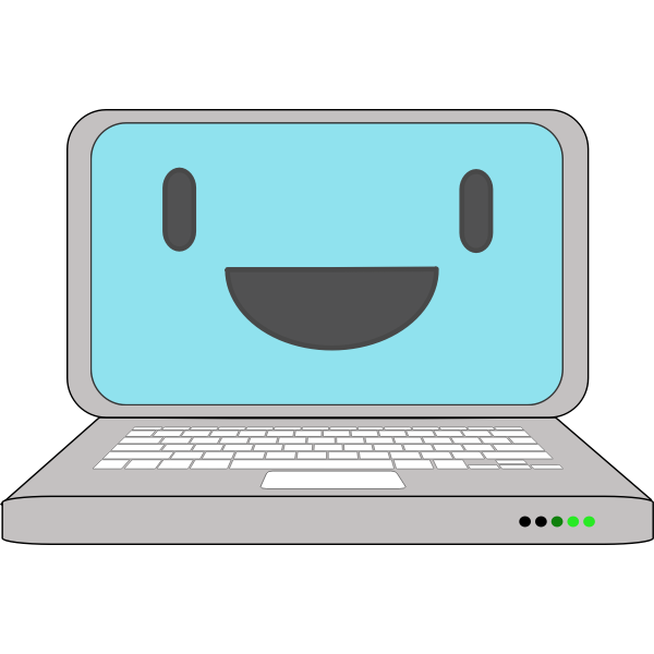 Laptop icon with a smile vector illustration