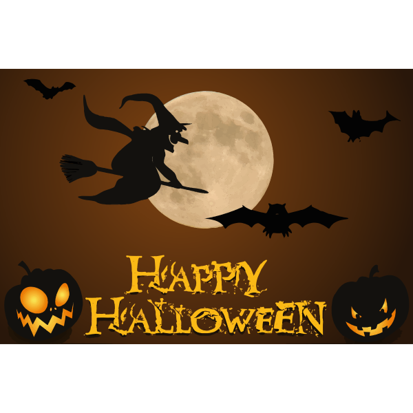 Happy Halloween wallpaper with witch illustration