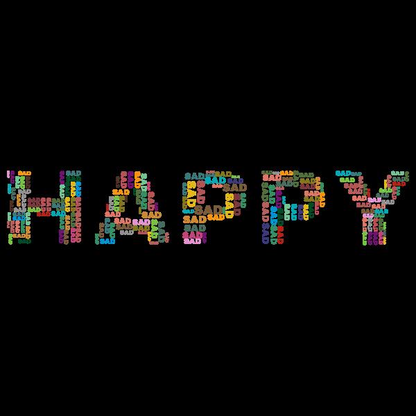 Happy Sad word cloud