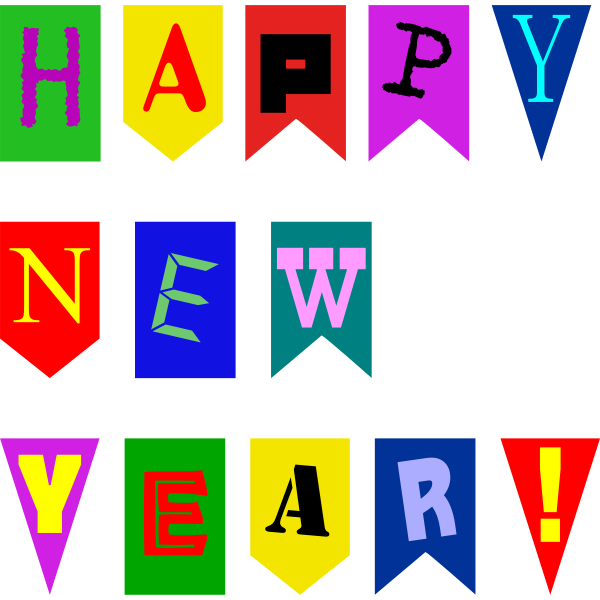 New Year Flags Vector