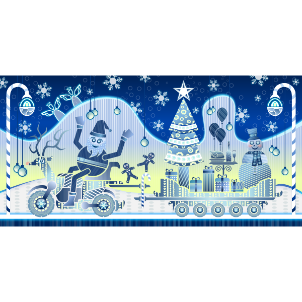 Season's greetings blue greeting card vector image