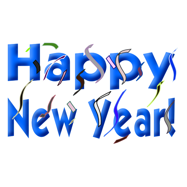 Happy New Year sign vector drawing