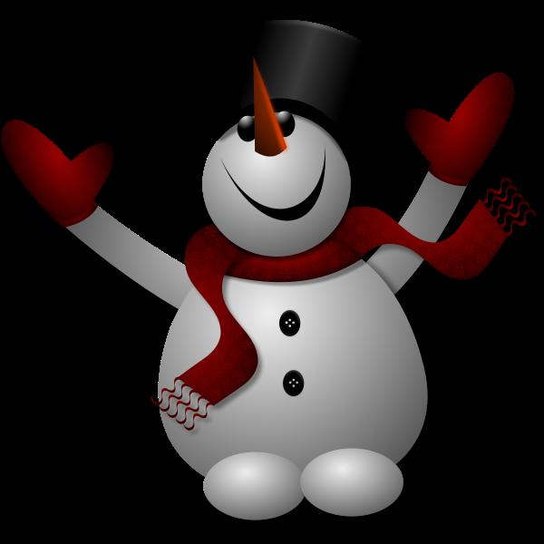 Vector clip art of cheering snowman