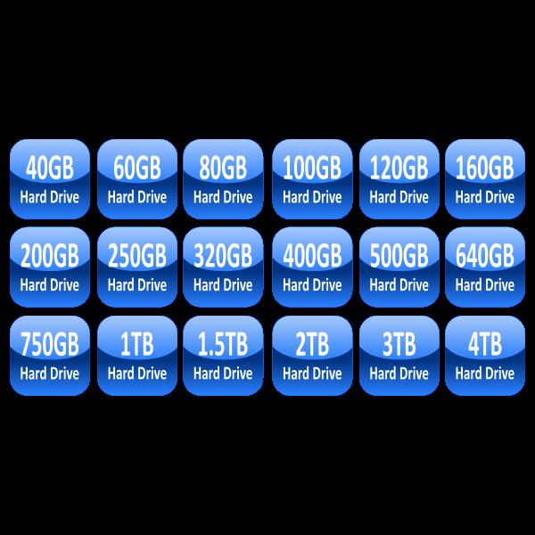 Hard drive capacity icons