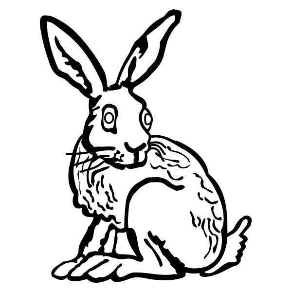 Line art vector illustration of bunny with long ears