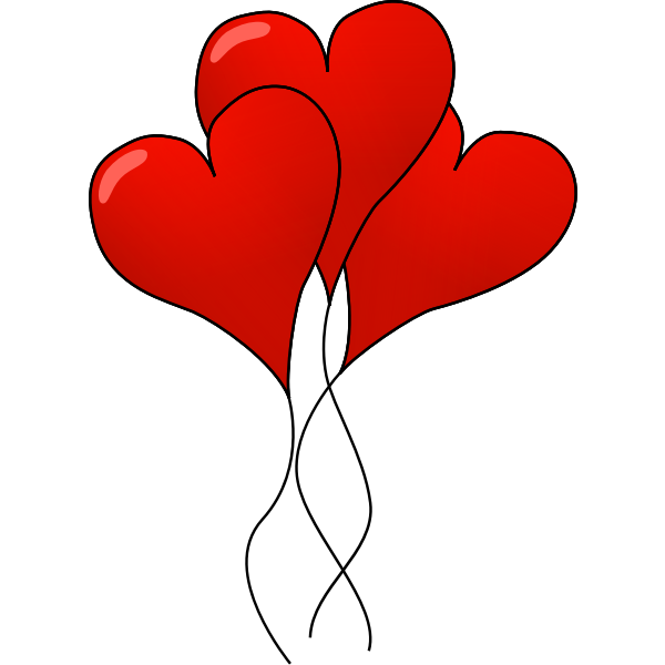 Heart balloons vector clip art - Free SVG