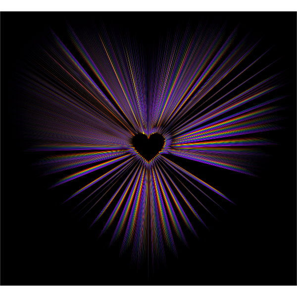 Heart Burst With Black Background