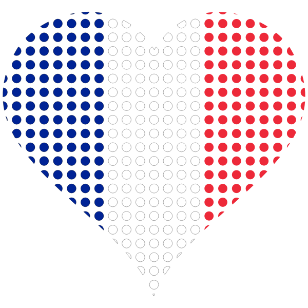 Heart France Flag Circles Stroked Free Svg