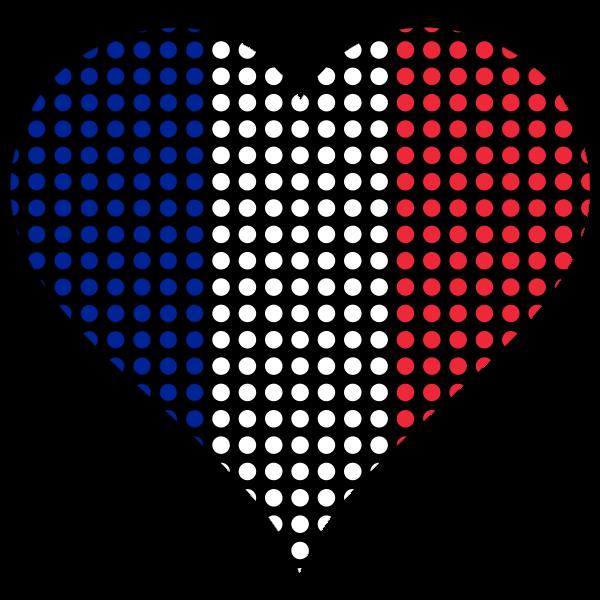 Heart France Flag Circles