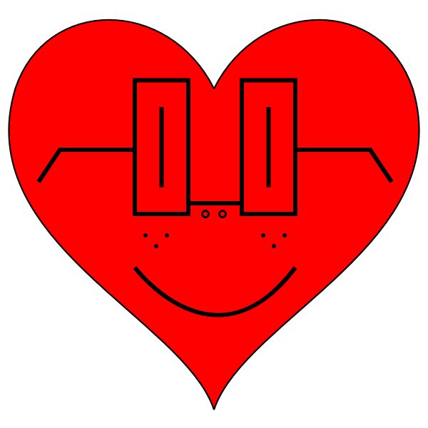 Vector illustration of heart with square glasses