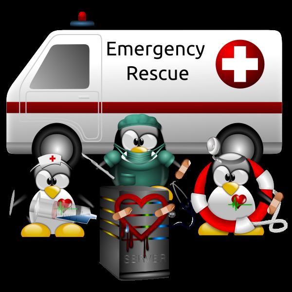 Linux tux fixing a Heartbleed bug vector clip art