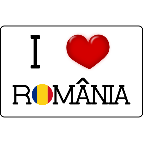 I love Romania vector sticker