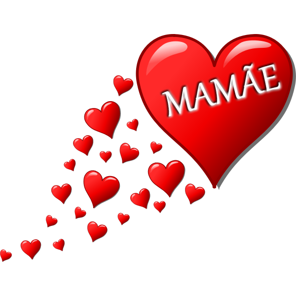 Hearts for Mom in Portuguese language vector