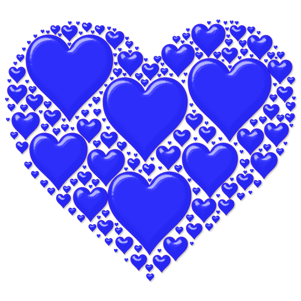 Vector image of blue heart made out of many small hearts | Free SVG