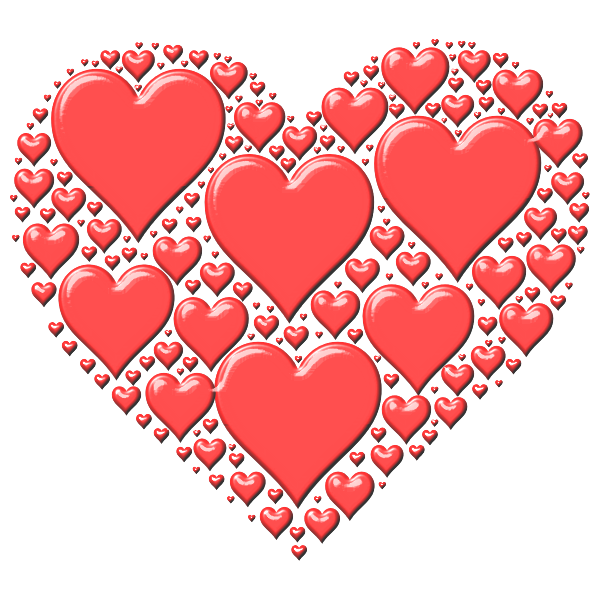 Vector illustration of red heart made out of many small hearts
