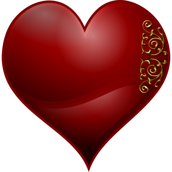 Vector clip art of heart playing card symbol with Wavy spiral pattern