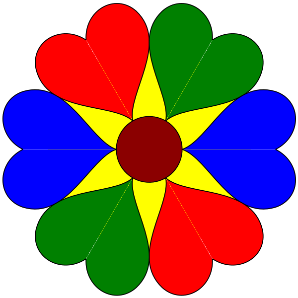 Six heart colorful flower vector illustration