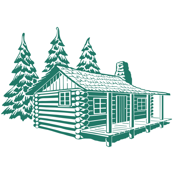 Vector Image Of Wooden Cabin House In Mountains Free Svg