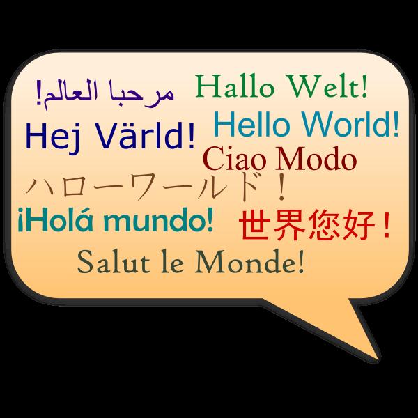 Hello World multi-lingual sign vector image
