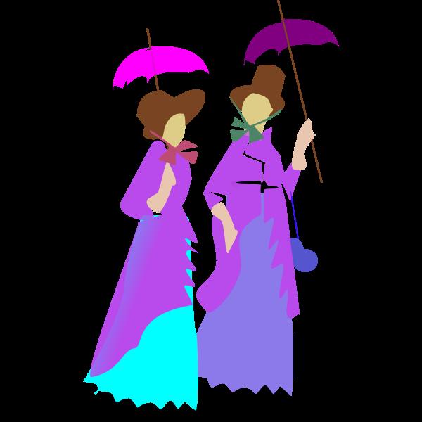 Illustration of two ladies walking in purple dresses