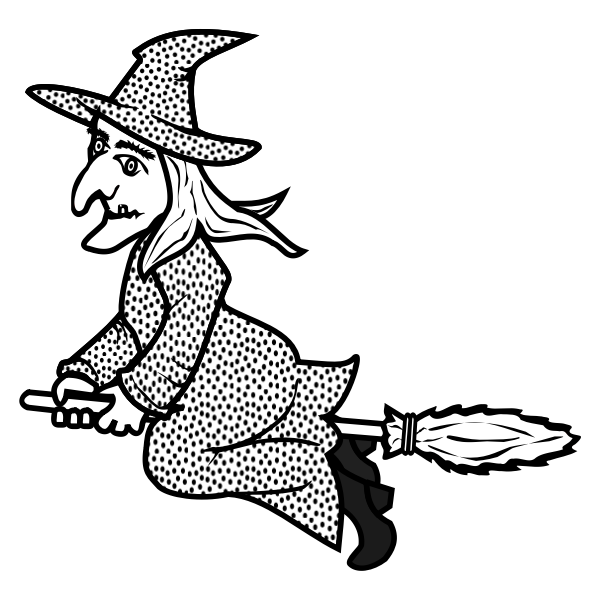 Line art vector image of witch on broom