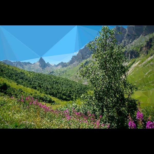 High poly Alpine mountains