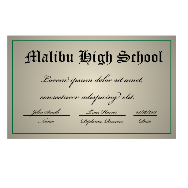 Vector image of high school degree diploma