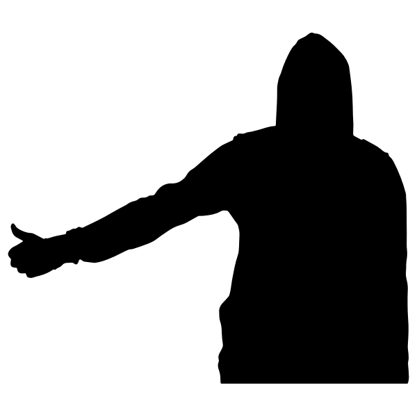 Hitch-hiking man silhouette
