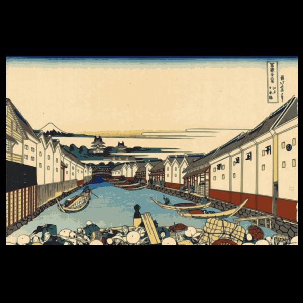 Nihonbashi bridge in Edo vector image