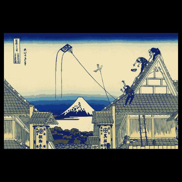 Mitsui shop on Suruga street in Edo vector illustration