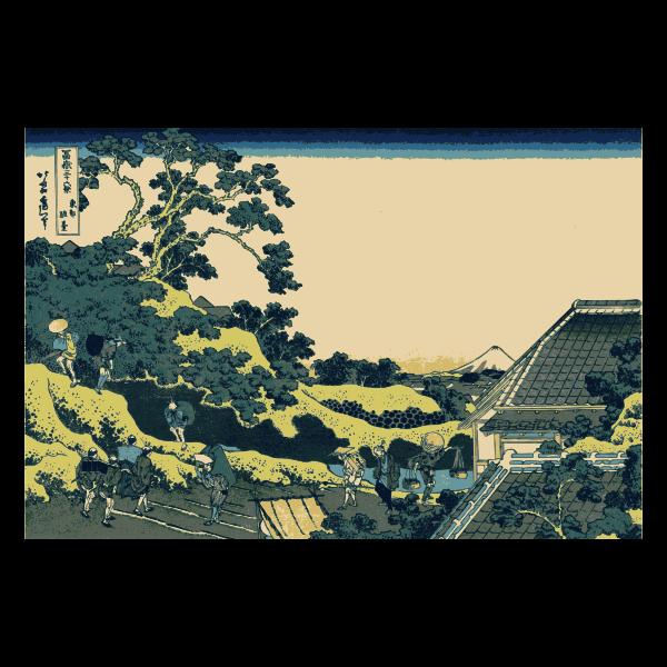 Suruga hills vector drawing
