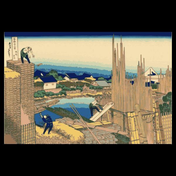 Tatekawa in Honjo vector illustration