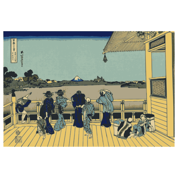 Vector illustration of men and women looking at Mount Fuji from a terrace