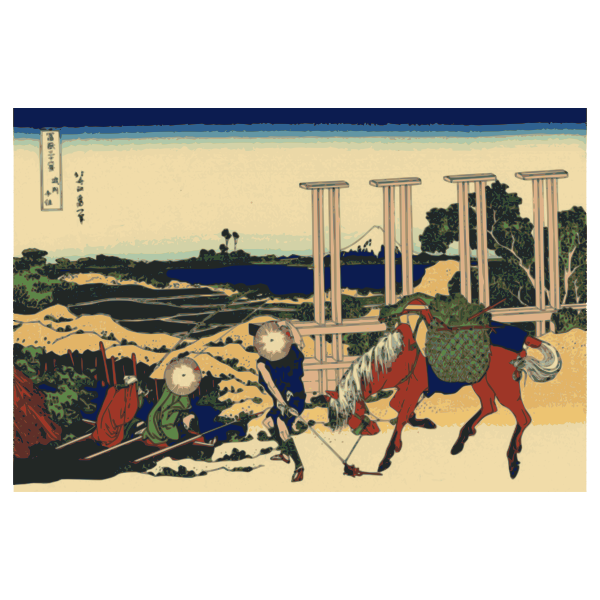 Vector graphics of the weir at Senju, Province of Bushu