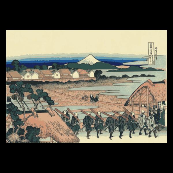 Fuji mountain seen from Senju across the Street of Flowers of Yoshiwara vector clip art