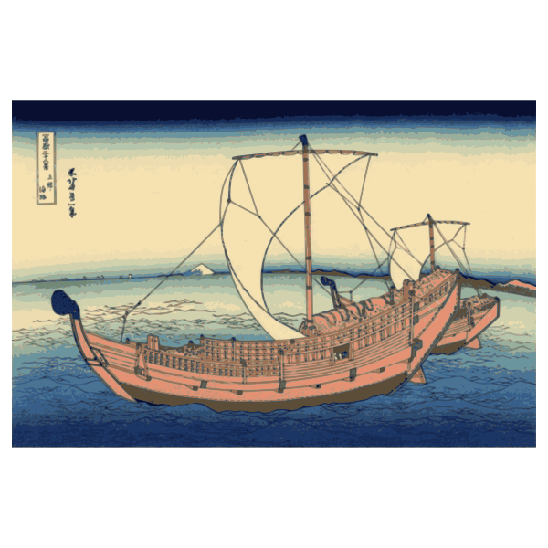 Vector image of color painting from the Kazusa sea route