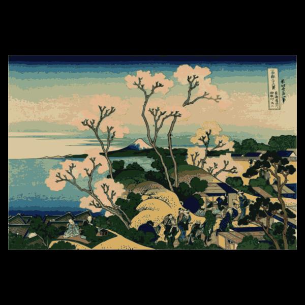 Ilustration of view of Mount Fuji from Gotenyama, Shingawa