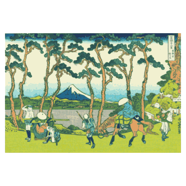 Mount Fuji viewed from Hokogaya on the Tokaido vector clip art
