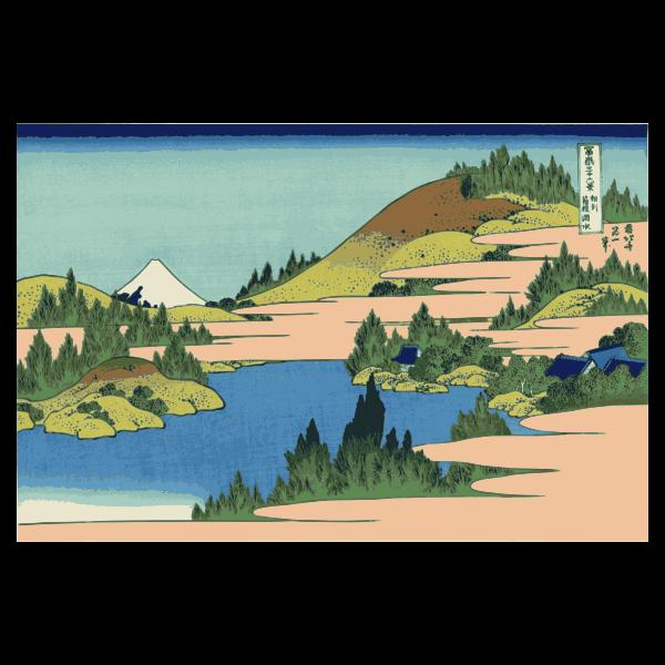 Lake of Hakone in Sagami Province Canvas vector image