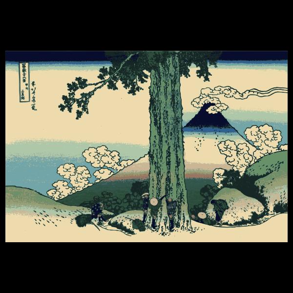 Mishima Pass in Kai Province vector illustration