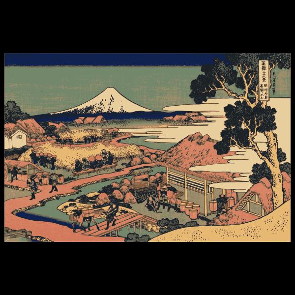 Katakura tea fields in Suruga vector drawing