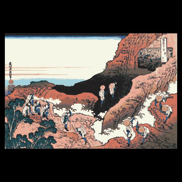 Climbing up a Mountain art painting vector illustration