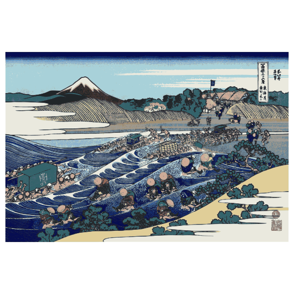 Vector clip art of painting of Mount Fuji viewed from Kanaya