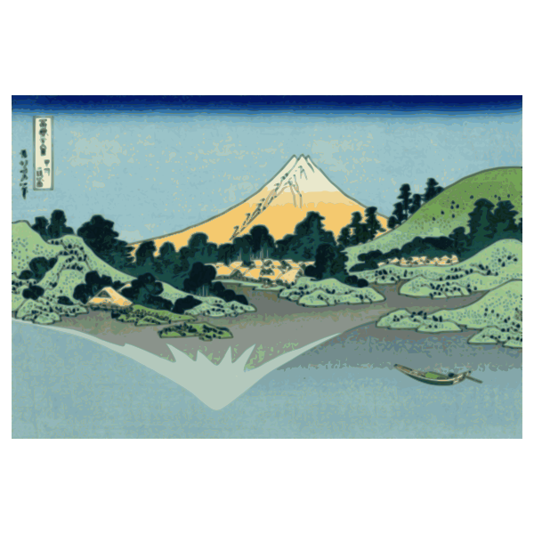 Vector clip art of of Mount Fuji reflection in lake at Misaka
