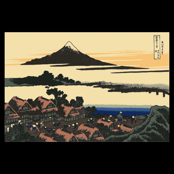 Vector image of Dawn at Isawa Koshiu in province of Kai