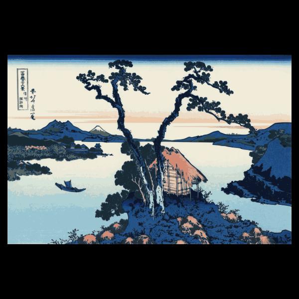 Vector illustration of Lake Suwa in the Shinano Province