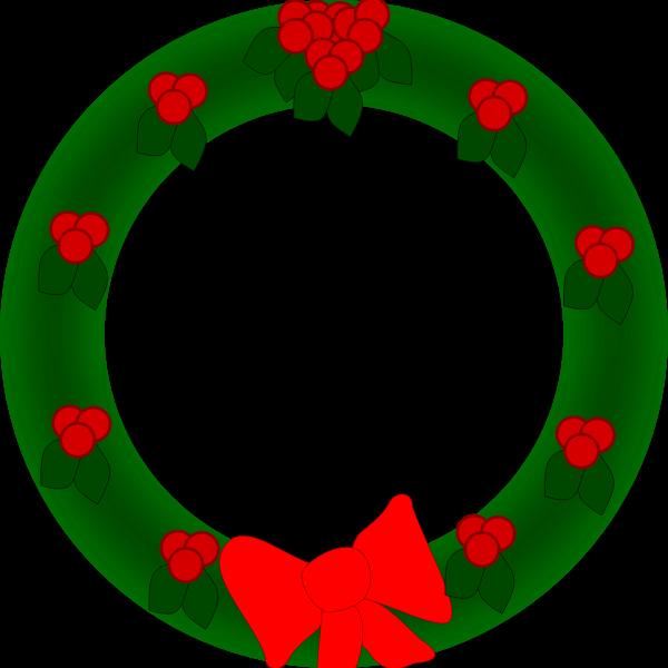 Christmas wreath vector drawing