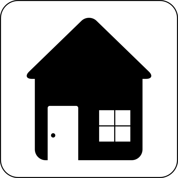 Vector image of black and white home or house icon