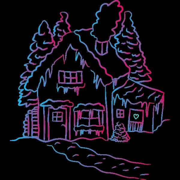 Melting snow on a house