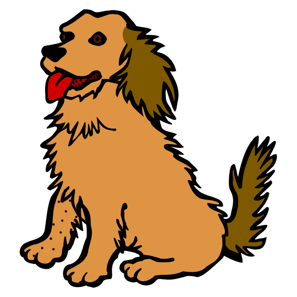 Vector clip art of dog with red tongue
